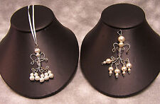 Handmade Car Guardian Angel Charms Silvertone & Imitation Pearl Lot of 2