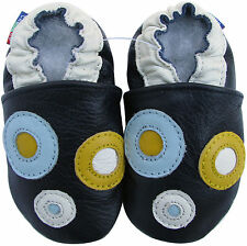 carozoo circle dark blue 12-18m soft sole leather baby shoes