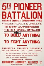 WW1 RECRUITING POSTER CANADIAN 5TH PIONEER BTN MONTREAL NEW A4 PRINT CANADA