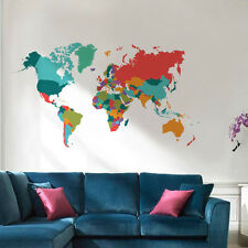Colorful World Map Home Decor Wall Sticker For Living Room Creative DIY Decal