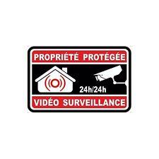 Autocollant propriété sous vidéo surveillance alarme 8 5x5 cm