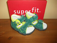 Boys SUPERFIT 11 Green SUEDE 'Monster' Velcro SANDAL UK 3.5 Eur 19 BNIB