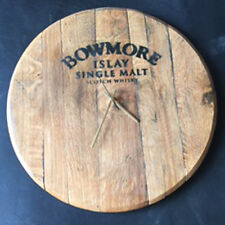 Recycled Solid Oak Bowmore Whisky Branded Whisky Barrel Lid Wall Clock