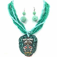 WESTERN COWGIRL TURQUOISE CHUNKY OWL STONE PENDANT BEADED NECKLACE EARRING