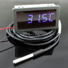 F/C DC 12V Blue LED Digit Car Gadgets Temp Meter Thermometer with DS18B20 Sensor