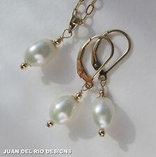 Zuchtperlen Ohrringe Kette & Anhänger Set Perlen weiss Brisuren 585 Gold 14K ygf