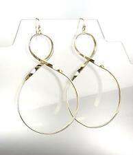 CHIC & UNIQUE Lightweight Gold Curved Twist Metal Long Dangle Earrings