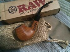 New RAW rolling papers Brand Uncoated Wood Tobacco Smoking Pipe with Pouch