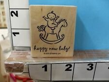 stampin up happy new year baby horse saying 2003 rubber stamp 5k