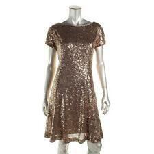 SLNY 18 Womens Gold Metallic Sequined Short Sleeves Party Cocktail Dress NWT