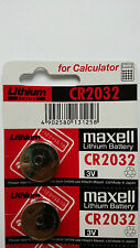 2 NEW CR2032 MAXELL 3V BATTERY - Free Shipping - Expiration Year: 10-2026