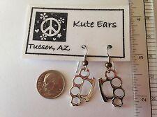 Silvertone Brass Knuckles Dangle Earrings - Free Shipping