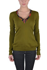 Just Cavalli Women's Olive Green 100% Wool V-Neck Sweater US S IT 40