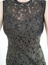 Karen Millen Beaded Black & Gold Lace Cocktail Dress size UK 10