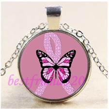 Breast Cancer Awareness Butterfly Glass Tibet Silver Pendant Necklace#K16