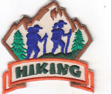 """HIKING"" PATCH w/2 HIKERS - Iron On Embroidered Applique - Sports, Hiker, Campin"