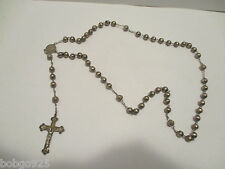 Rosary Beads Sterling Silver Crucifix & Beads Vintage Rosaries Some Large Dents