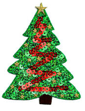 "Christmas Tree - Green & Red Sequins Iron On Applique Patch - 3 7/8""H (9.9cm)"