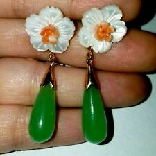Natural carved coral mother of pearl flower jade earrings k drama style