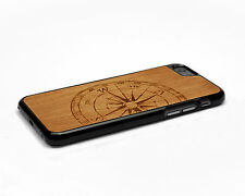 Real Wood iPhone 6 Case with Soft Rubber Sides by Nuwoods, Compass Engraved