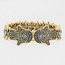 Hamsa Bracelet Evil Eye Stretch GOLD BLUE Hand Luck Protection Faith Jewelry