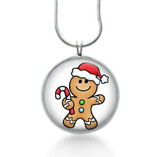 Sweet gingerbread with candy cane necklace, santa hat , holiday jewelry