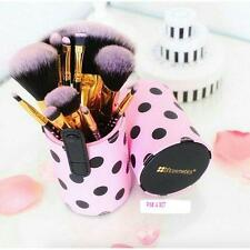 BH COSMETICS PINK A DOT 11 PIECE BRUSH SET PINK BLACK WITH CASE CUP HOLDER NEW