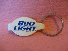 Bud Light Beer Bottle Opener Key Ring White Blue Lettering