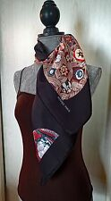 BEAUTIFUL BLACK SULFURES & PRESSES PAPIERS II VINTAGE HERMES SCARF MINT COND