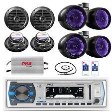 """Dual 6.5"""" Tower Boat LED Speakers,6.5"""" Speakers, Amp,Antenna,Bluetooth USB Radio"""