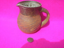 POTTERY JUG EARTHENWARE BROWN STRATCH DESIGN SLIP GLAZE INSIDE