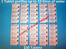 100 x Aquatabs 67mg Purificante Acqua compresse. 1 Tavoletta per 8-10 Litri