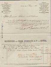 Gotha, factura 1883, fábrica de hanfschläuchen, feuerlöscheimern Gebr. Burbach