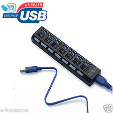 USB 3.0 High Speed Multi Hi-Speed Seven 7 Port ports Hub + Cable For PC Laptop