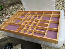 Wooden Display Felted Back Rack for Collectables etc