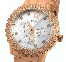 New Guess Women's  U0335L3 Rose Gold tone Crystals Bezel Silver Dial