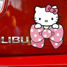 Cat Hello Kitty In Big Pink Dot Bow Bumper Random Body Wall Decals Car Stickers
