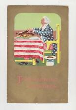 Thanksgiving Greetings,Patriotic Thanksgiving w/ Uncle Sam Carving a Turkey,1908