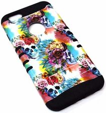 for iPhone 6S PLUS - Skulls Flowers Black Rubber Hybrid Protective Koolkase Case