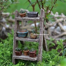 Miniature Plant Ladder  pots on ladder included WS 1149  Fairy Garden Dollhouse