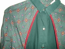 Ladies Cowgirl Western Rodeo SHIRT High End ROPER Green Maroon Concho Button S