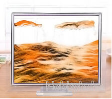 1pcs orange Moving Sand Glass Picture Home Office Table Decor Birthday  Gift-S