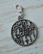 Celtic Spiral Dragon Fly Flower Clip On Charm Pendant  Round