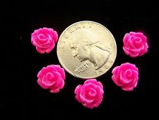 25 pcs Hot Pink Detailed Carved Rose Flower Resin Cabs Cabochons Beads