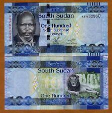 South Sudan, 100 Pounds, 2011, Pick 10, AA-Prefix UNC   Lion
