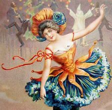 Tuck AT THE CARNIVAL Belle of the Ball Woman Postcard Series 117 EMB