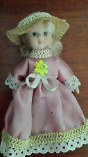 Miniature Porcelain Doll 10cm long with Bonnet