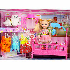 Fashion Pretty Princess On Bed Change Clothes Doll Toy Set For Girls Child