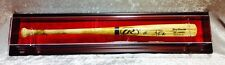 Premium Wall Mount Baseball Bat Display Case, Mahogany frame with Red background