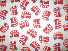BUS LONDON ORANGEY RED BLUE COTTON FLANNEL FABRIC FQ OOP